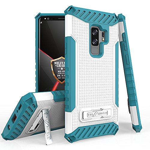Galaxy S9 Plus/Galaxy S9+ Case, Trishield Durable Shockproof High Impact Rugged Armor Phone Cover Kickstand Samsung S9+ Only White/Light Blue