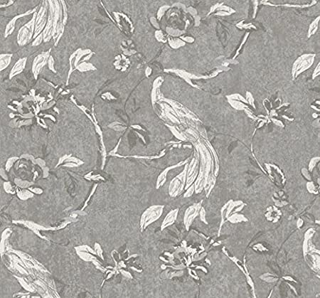 Birds Wallpaper Flowers Floral Leaves Paradise Grey Silver White
