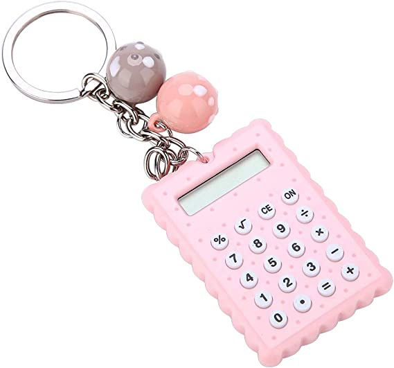 NUOBESTY 2pcs Kids Mini Calculator Portable Pocket Candy Color Electronic Calculator with Key Ring Gifts for Children Students Christmas Birthday Party Favors
