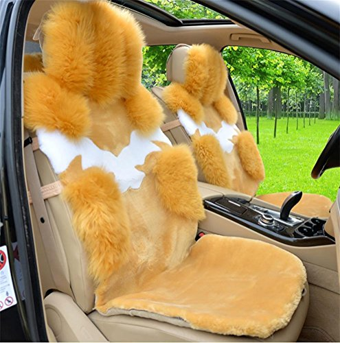 YAOHAOHAO Universal Full Set Deluxe sheep of the skin of the car seat cover wool, m yellow by YAOHAOHAO (Image #4)