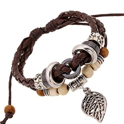 Vicheer Novelty Multilayer Braided Leather cuffs Beaded Charm Wrap Bracelet ( Silver Leaf )