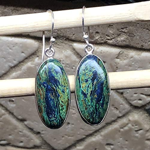 Natural Malachite In Azurite 925 Sterling Silver Solitaire Smooth Scenic Earrings 35mm ()