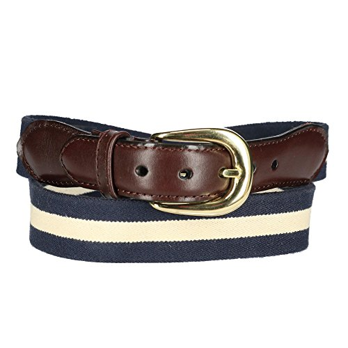 Rogers-Whitley Men's Cotton Elastic Two Tone Stretch Belt, 40, Navy / White Cotton Striped Belt