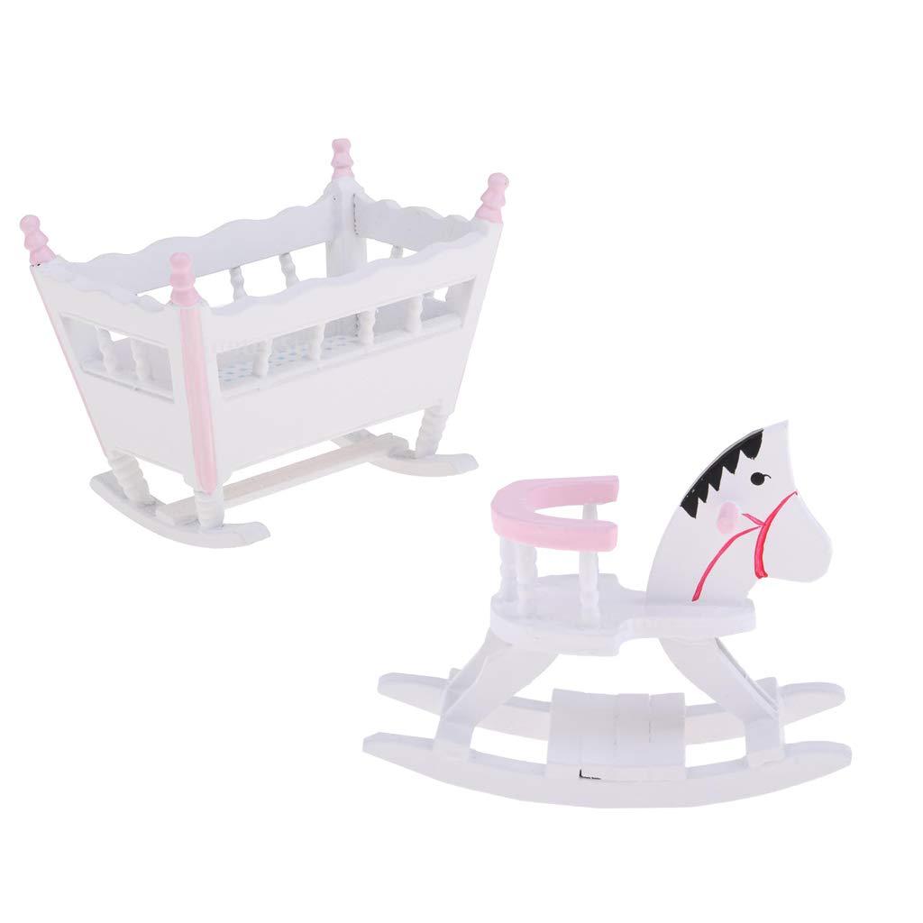 KESOTO 1//12 Miniature Cheval /à Bascule et Berceau Jouet de Simulation Cadeau pour lanniversaire des Enfants ou Cadeaux de No/ël 2 Pi/èces