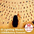Hehui Photo Clip String Lights 50 Led String Lights With Clips 8 Modes 16 4 Ft Waterproof Usb Battery Powered String Lights Fairy Lights For Christmas Bedroom Wedding Party Birthday