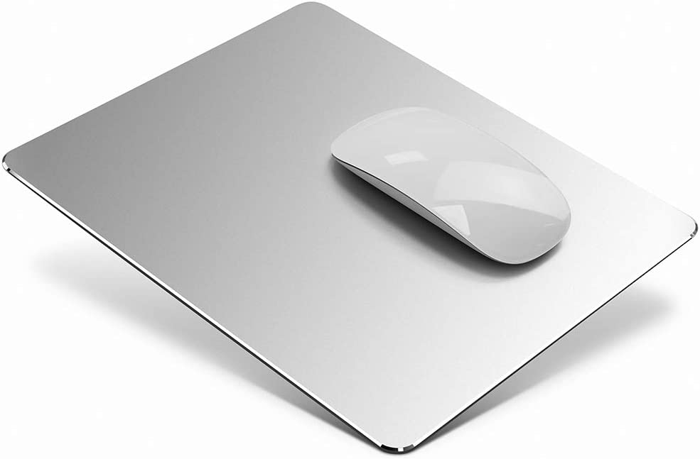 Metal Aluminum Mouse Pad, Office and Gaming Thin Hard Mouse Mat Double Sided Waterproof Fast and Accurate Control Mousepad for Laptop, Computer and PC,9.45 X 7.87 Inch,Silver