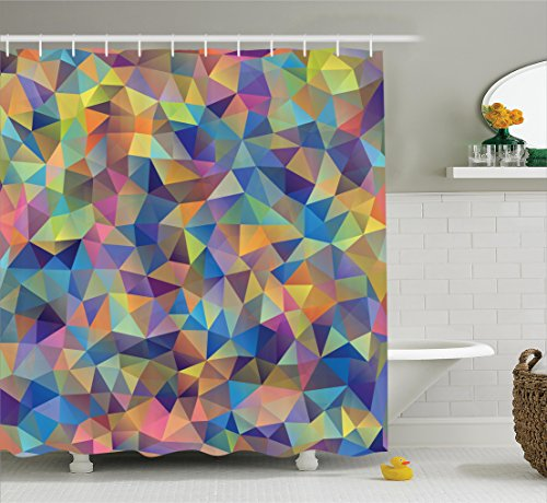 Abstract Colorful Triangles Shapes Ornate Crystal Trendy Bathroom Shower Curtain Set with Hooks, Blue Green Coral