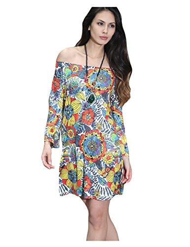 Bestgift Damen Kurze Kleider Strandkleid Minikleid Drucken Sommer A-Linie Schlank kleider Multicolor 19 kaaZi