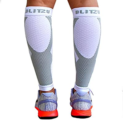 Blitzu Calf Compression Sleeve Socks One Pair Leg Performance Support for Shin Splint & Calf Pain Relief. Men Women Runners Guards Sleeves for Running. Improves Circulation and Recovery