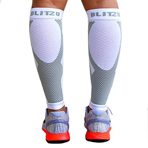 BLITZU Calf Compression Sleeve Socks One Pair Leg Performance Support for Shin Splint & Calf Pain Relief. Men Women Runners Sleeves for Running. Improves Circulation and Recovery White S/M by BLITZU (Image #9)
