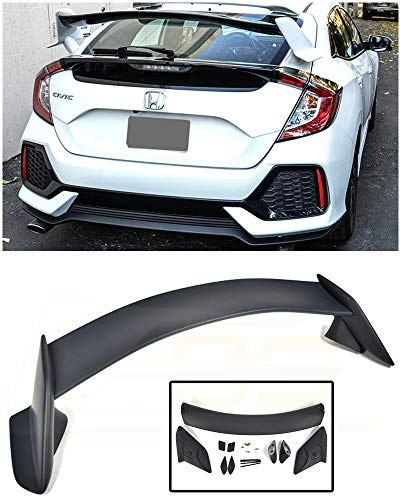 Extreme Online Store Replacement for 2016-Present Honda Civic Hatchback FK4 FK7 | EOS Type-R Style JDM ABS Plastic Primer Black Rear Trunk Lid Wing Spoiler