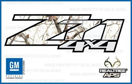 Chevy Silverado RealTree AP Snow Z71 4x4 decals stickers - APS (2007-2013) bed side 1500 2500 HD (set of 2)