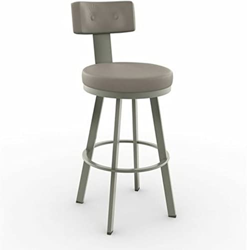 Amisco Tower Swivel Metal Counter Stool with Backrest, 26-Inch, Titanium Stratus