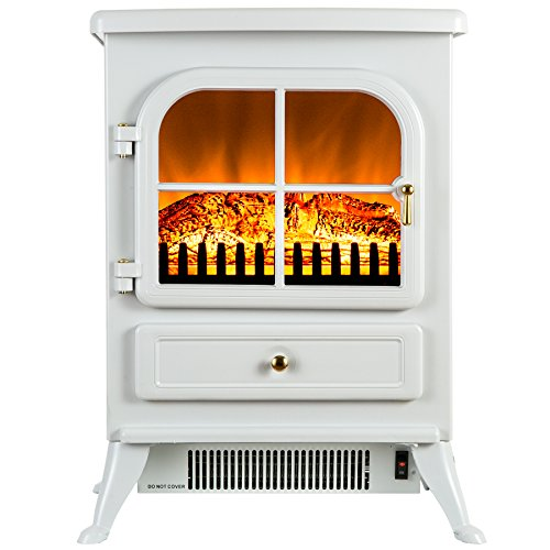 FIREBIRD 15 1500W Adjustable 2 Setting 5200BTU Freestanding Portable Tempered Glass Electric Fireplace Stove Heater (WHITE) by Fire (White Fireplace Heater)