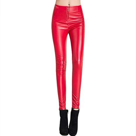 038f139a69 OJJFJ Pantacollant Pantaloni Donna in Pelle Rossa Invernale ...