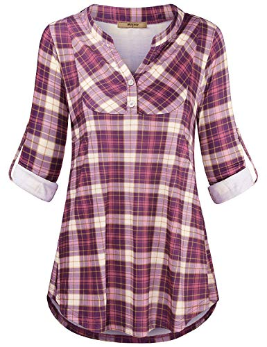 Miusey V Neck Shirts for Women,Ladies Oversized Checker Printed V Neck Office Attire Retro Tartan Plaid Tunic Blouses Maternity Plus Size Baggy Designer Autumn Clothes Pink XXL