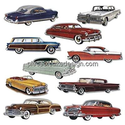 1/4 ~ 1950s Classic Cars Birthday ~ Edible Cake/Cupcake Topper - D7652: Grocery & Gourmet Food