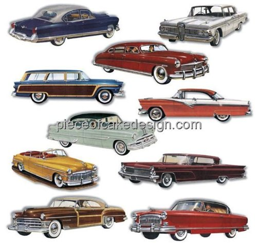 1/8 ~ 1950s Classic Cars Birthday ~ Edible Cake/Cupcake Topper!!! -
