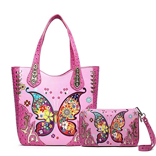 (Cowgirl Trendy Western Colorful Butterfly Carry Concealed Handbag Tote Bag and Wallet (Fuchsia))