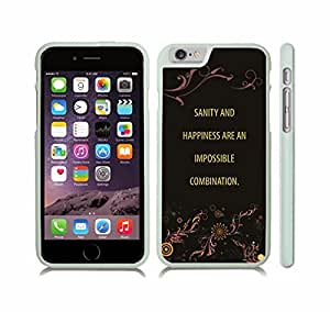 """iStar Cases? iPhone 6 Plus Case with """"Real friends don't have to..."""" Inspirational, White Font, Jumping on Beach , Snap-on Cover, Hard Carrying Case (White)"""