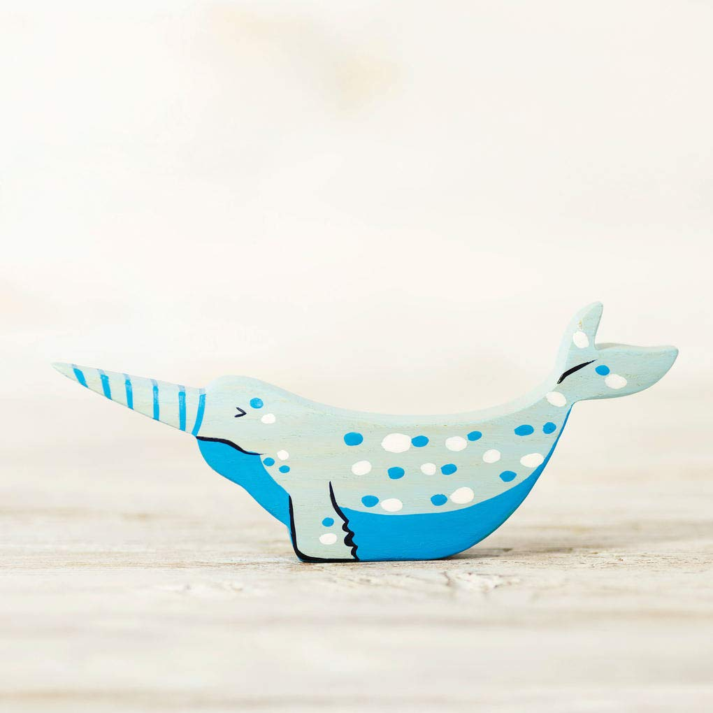 Wooden sea unicorn Toy narwhal Nordic figurine