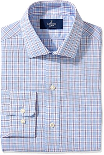 Buttoned+Down+Men%27s+Non-Iron+Classic-Fit+Spread-Collar+Dress+Shirt%2C+Blue%2FPurple+Glen+Plaid%2C+16.5%22+Neck+34%22+Sleeve