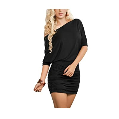 Anxihanee Women's Off Shoulder Bat Sleeve Party Club Ruched Bodycon Mini Dress: Clothing