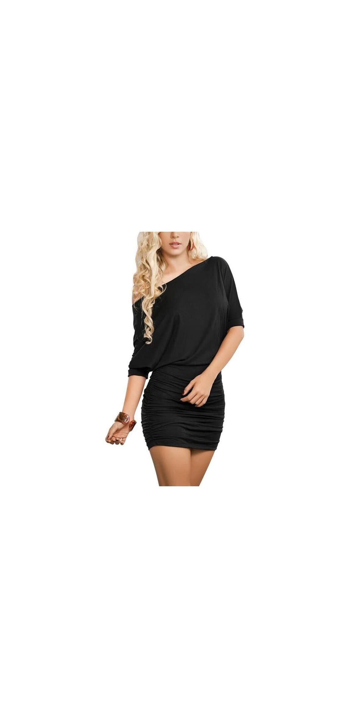 Womens Off Shoulder Bat Sleeve Party Club Ruched Mini