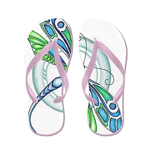 CafePress Decorative Dragonfly - Flip Flops, Funny Thong Sandals, Beach Sandals Pink
