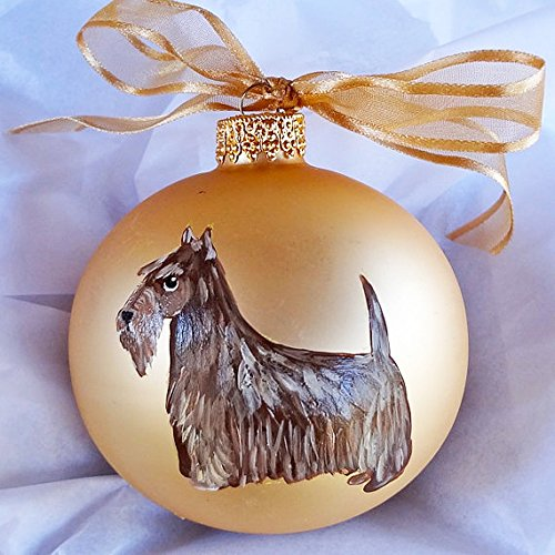 - Scottish Terrier Scottie Dog Brindle Hand Painted Christmas Ornament - Can Be Personalized with Name