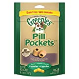 GREENIES PILL POCKETS Grain Free Capsule Size Natural Dog Treats Duck and Pea Formula, 6.6 oz. Pack (25 Treats)