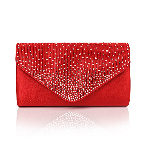 Bag Envelope Colours Womens Purse Fashion Diamonte 11 Red Clutch Shoulder BtATq