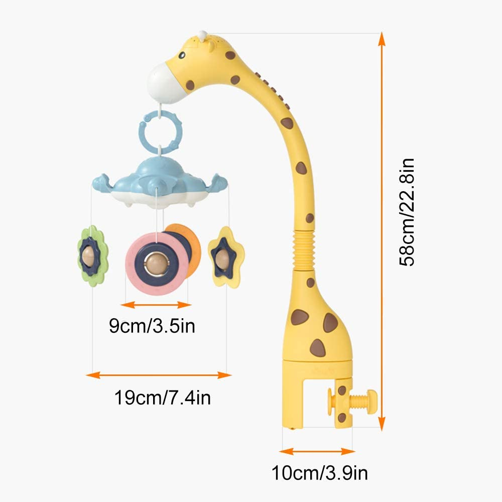 Giraffe Crib Mobile Arm with 360 Rotate Teether Rattle Nursery Toys for Newborn Boys and Girls Ages 0 to 24 Months lulalula Musical Crib Mobile
