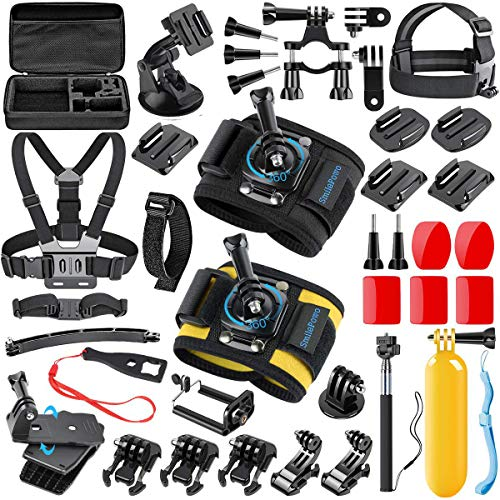 SmilePowo 42 in 1 Accessory Kit Sports Action Camera for GoPro Hero 7 6 5 4 3 2 1 Black Sliver Hero 2018 Fusion Session AKASO SJCAM APEMAN Campark DJI OSMO, Bike Handlebar Mount, Two Wrist Strap