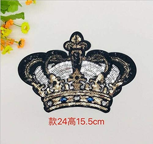 GOLD W//CRYSTAL BEADED FLOWER APPLIQUE 2415-A