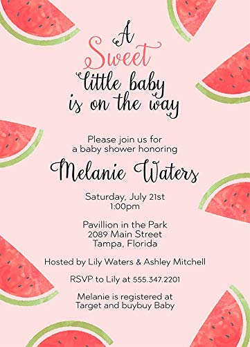 Watermelon Baby Shower Invitations Watermelon Invites BBQ BabyQ Sweet Baby New Baby Pink Red Green Summer Sprinkle Girls It's A Girl Fruit Juicy (10 Count)