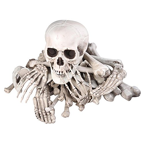 Bag Of Bones Halloween Props (AW Bag of Skeleton Bones Skull 28pcs Set Props Horror Festival Party Decoration Party April Fool)
