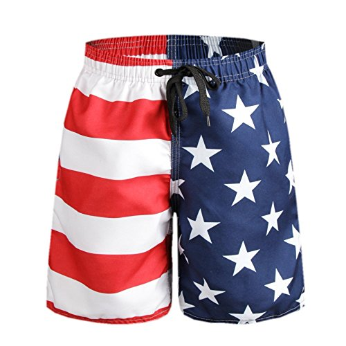 ORANSSI Big Boys' American Flag Swim Trunks Beach Shorts, Navy Red, Small / 22-24 Waist ()