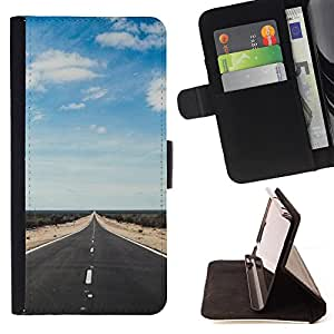 - Road Long Sky - - Monedero PU titular de la tarjeta de cr?dito de cuero cubierta de la caja de la bolsa FOR Sony Xperia Z1 Compact D5503 Retro Candy