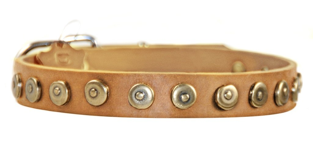 Dean and Tyler  DOT MATRIX  Dog Collar With Nickel Hardware Tan Size 36cm by 3cm Width Fits Neck Size 30cmes to 41cmes.