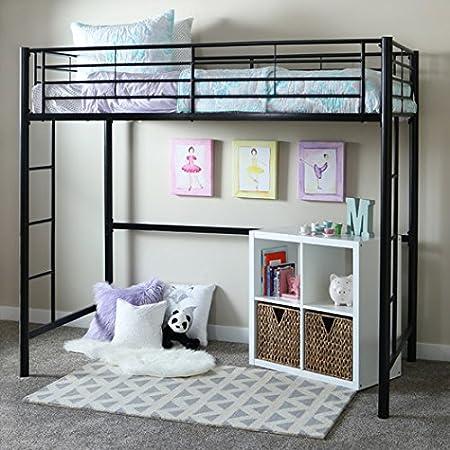 Home Loft Concept - Cama doble con escalera integrada, color negro (resistente cama de metal con protectores