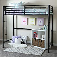 Home Loft Concept Twin Loft Bed with Built-In Ladder (Black)-Sturdy Metal Bed with Steel Guardrals for Childrens Safer Sleep-Household Space Saver-Stylish Kids Room Furniture