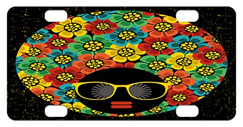 Hairstyles 1970s (70s Party Mini License Plate by Ambesonne, Abstract Woman Portrait Hair Style with Colorful Flowers Sunglasses Lips Graphic, High Gloss Aluminum Novelty Plate, 2.94 L x 5.88 W Inches, Multicolor)