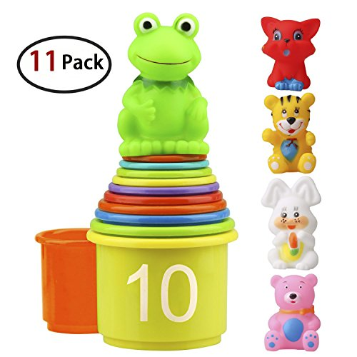 (Homder The First Years Nesting & Stacking Up Cups with Numbers & Animals for Kids Toddlers Early Educational Stacker Toys,11 Pack)
