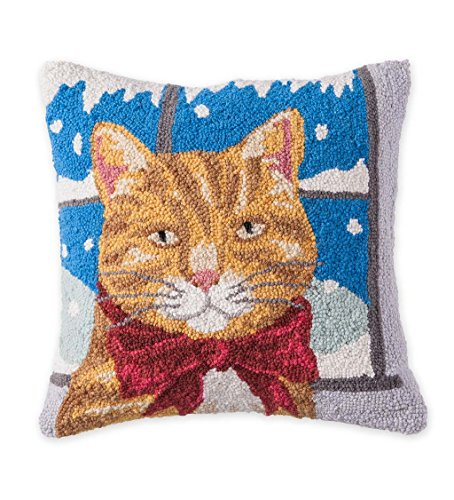 Hooked Wool Holiday Decorative Throw Pillow with Tabby Cat, 16 L x 16 (Holiday Hooked Pillow)