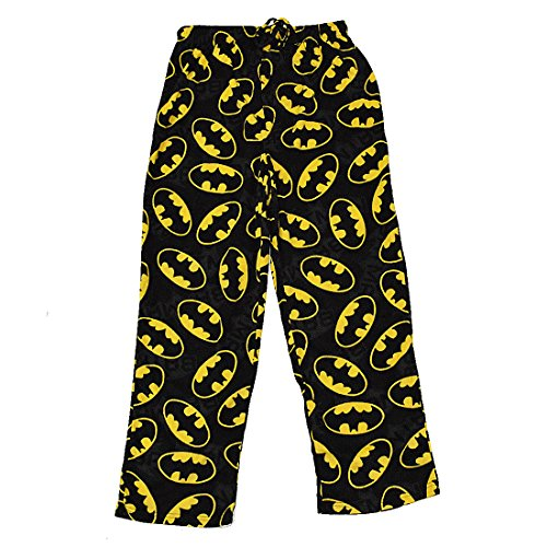 BIG & TALL DC COMICS BATMAN Mens Polar Fleece Sleepwear / Pajama Pants Large (Tall) Black (Big Mens Fleece Pajama Pants)