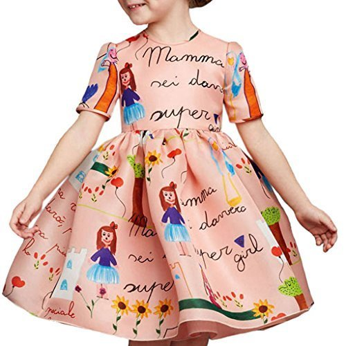 Designer Spring Dresses - Girls Princess A Line pink playwear Mamma print Party Dresses 2T-7T