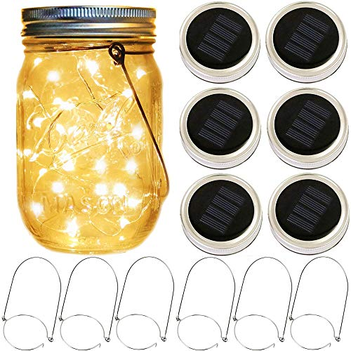 Mason Jar Solar Lights,6 Pack 30 LED String Fairy Firefly Jar Lights (6 Hangers Included No Jar),for Patio Garden Wedding Decorations Solar Lantern (6 Pack 30-LEDs Hangers&Hemp Rope Included(No Jar))