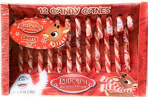 Rudolph The Red-Nosed Reindeer 12 Candy Canes, Pack of 2