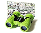 BESPIN Binoculars for Kids 8x21 Bird Watching, High-Resolution Real Optics for Wildlife Watching with Reversible Bird Map - GR -